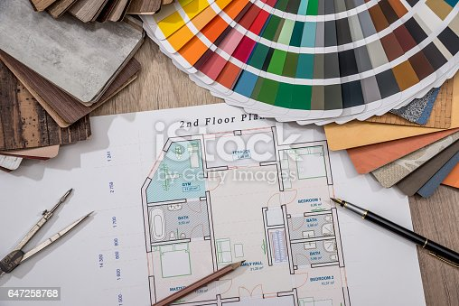istock house plan with palette of colors and wooden sampler. 647258768