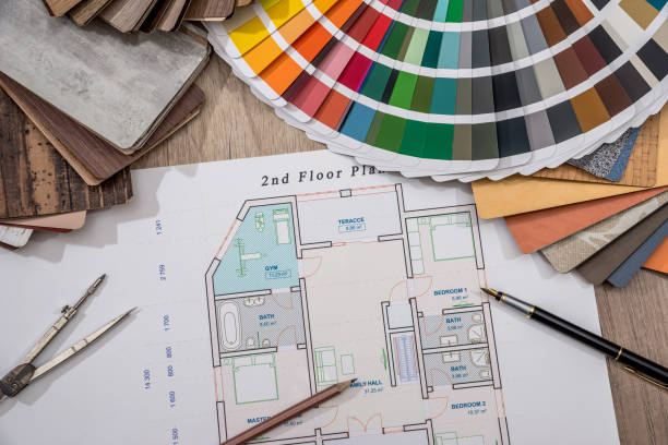 house plan with palette of colors and wooden sampler. house plan with palette of colors and wooden sampler. interior designer stock pictures, royalty-free photos & images