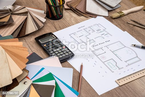 istock house plan with palette of colors and wooden sampler. 647266732