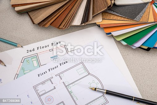 istock house plan with palette of colors and wooden sampler. 647269066