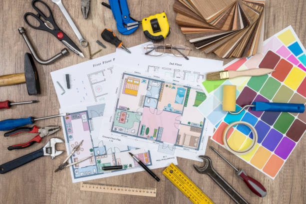 house plan with working tools. office work. - council flat stock photos and pictures