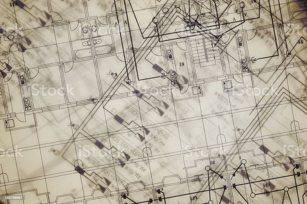House Planes Blueprint-Architecture Industry Paperwork royalty-free stock photo