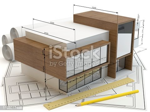 istock House plans, 3D illustration 1133277458