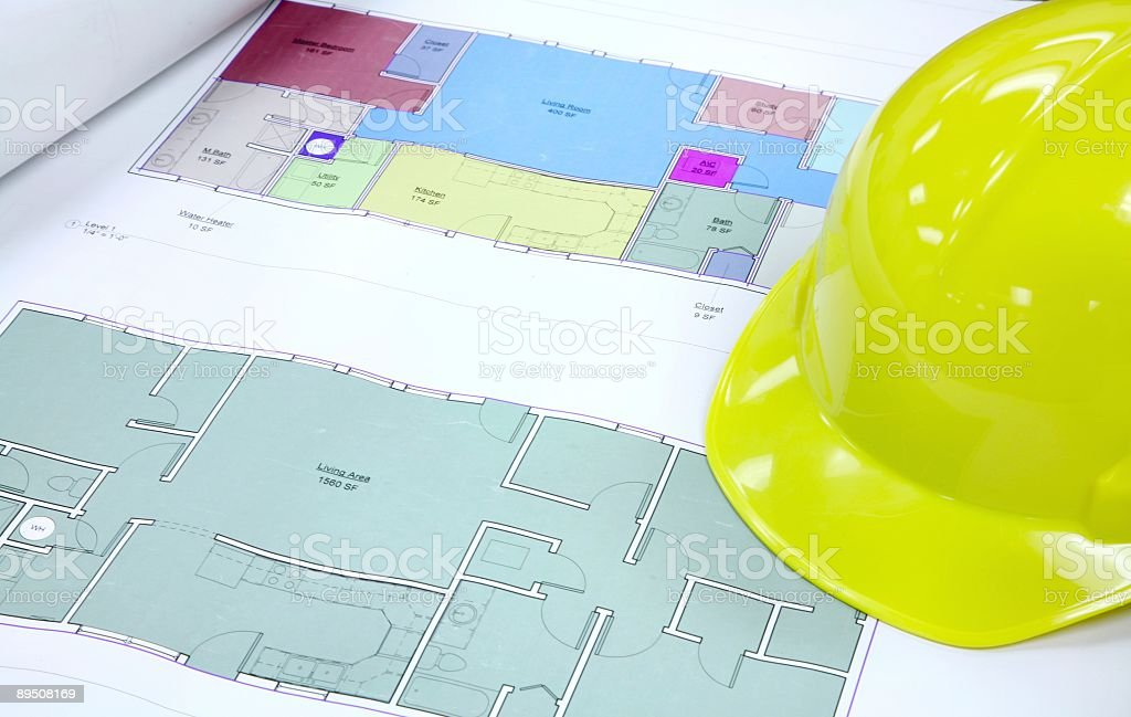House Plans & Hard Hat royalty-free stock photo