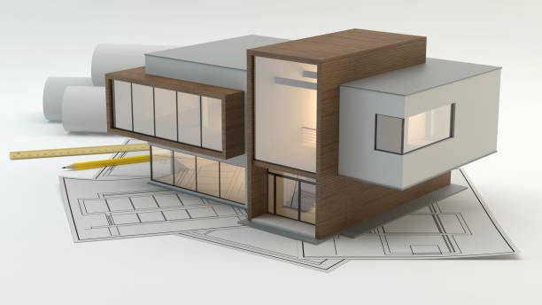 Hauspläne v2, 3D-Blustration – Foto