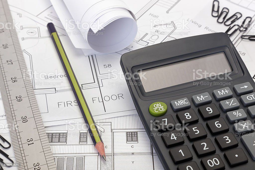 House plans with calculator for costing estimate royalty-free stock photo