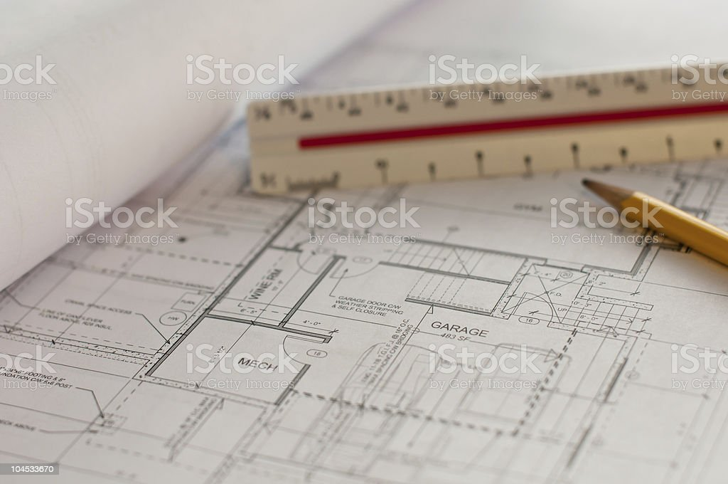 House Plans (Blueprints) with Pencil and Scale stock photo