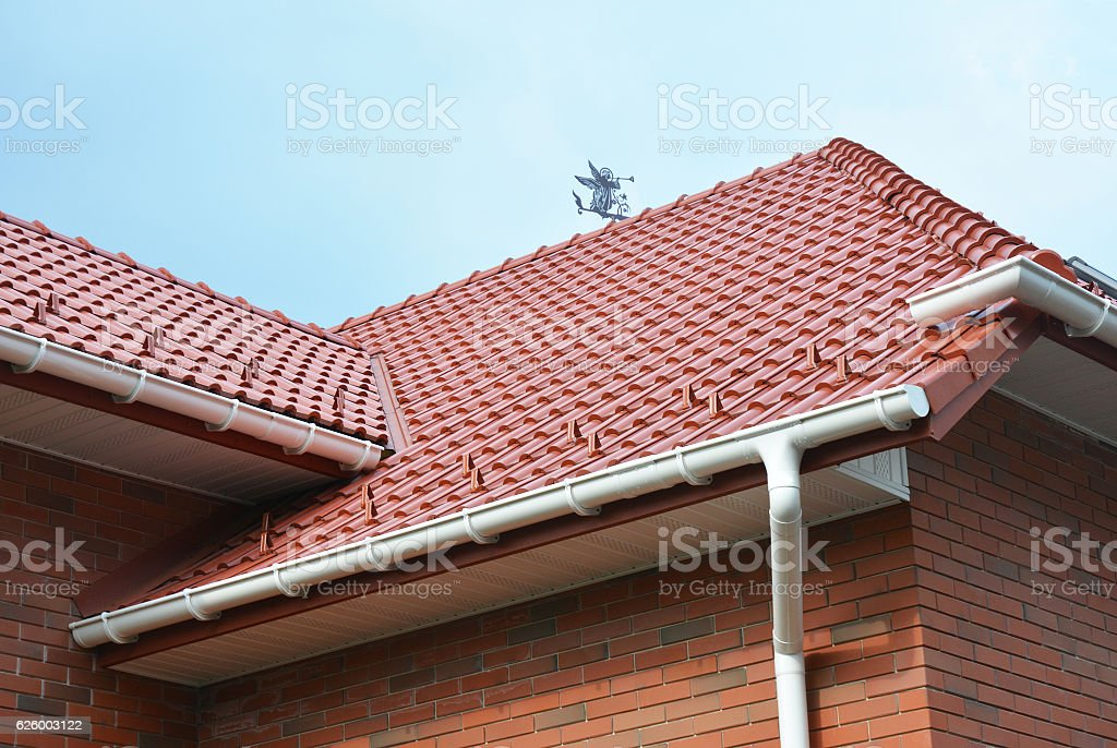 House Problem Areas for Rain Gutter Waterproofing. Guttering, Gutters, Plastic Guttering, Guttering stock photo