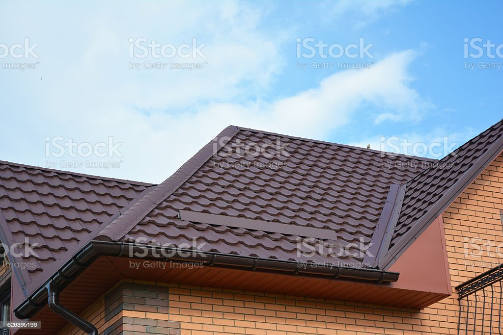 House Problem Areas for Rain Gutter Waterproofing. Guttering, Gutters. stock photo