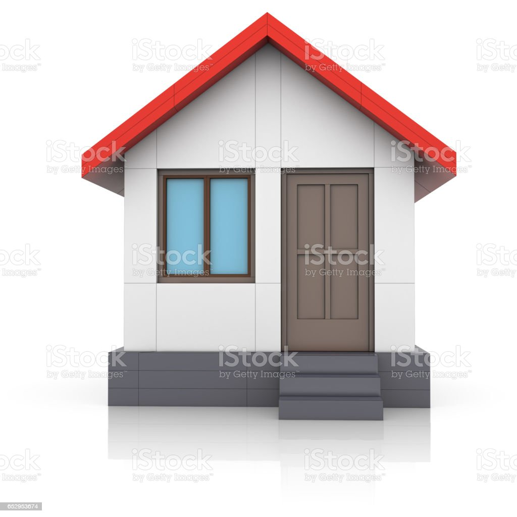 House project. Drawing turns into 3d model stock photo