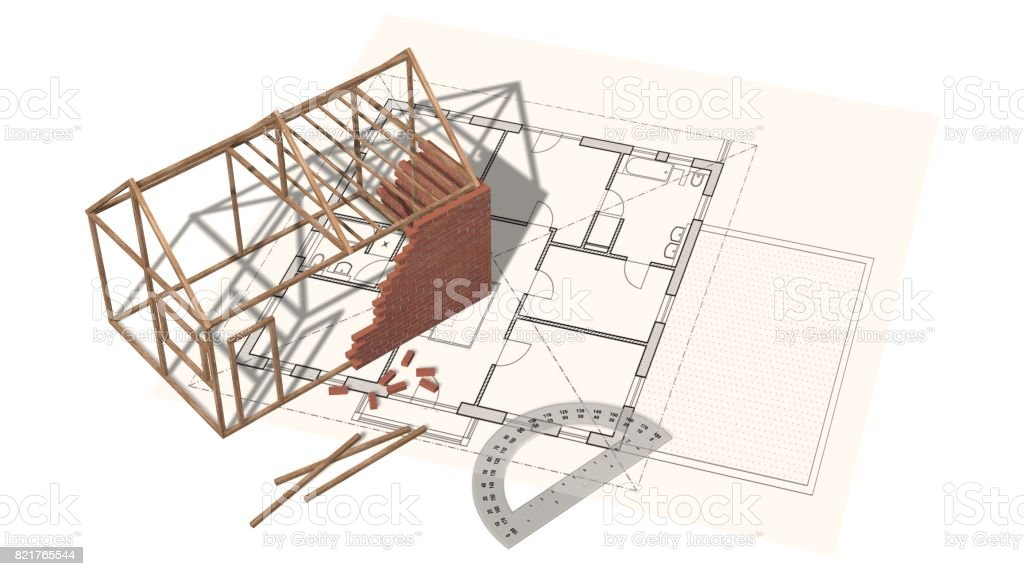 House project house under construction on blueprint project for house project house under construction on blueprint project for construction industry royalty free malvernweather Images