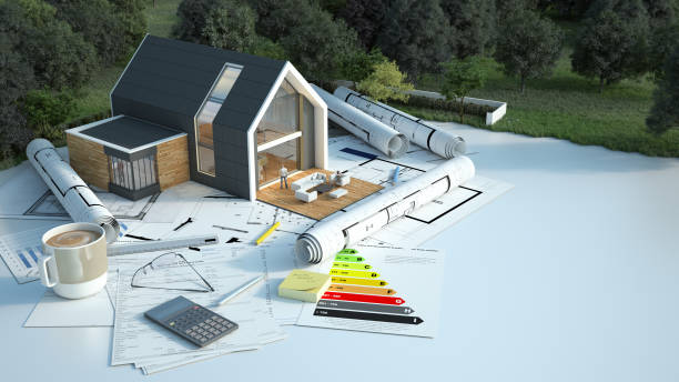 House project on construction ground stock photo