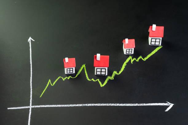 haus,, immobilien oder immobilien markt preis steigen oder steigendes konzept, kleine miniatur-haus mit grüner linie graph geht auf schwarze tafel - mieterhöhung stock-fotos und bilder