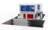 3d render. Modern house isolated on white background.