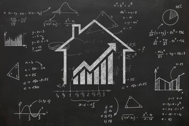 haus immobilien graph preis investition hypothek - mieterhöhung stock-fotos und bilder
