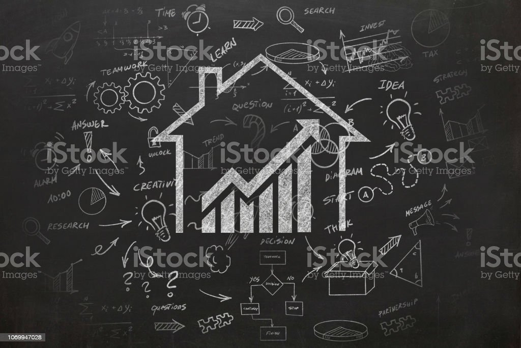House real estate graph price investment mortgage stock photo