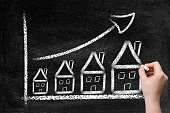House, real estate, mortgage graph, ascending price, arrow, hand, woman