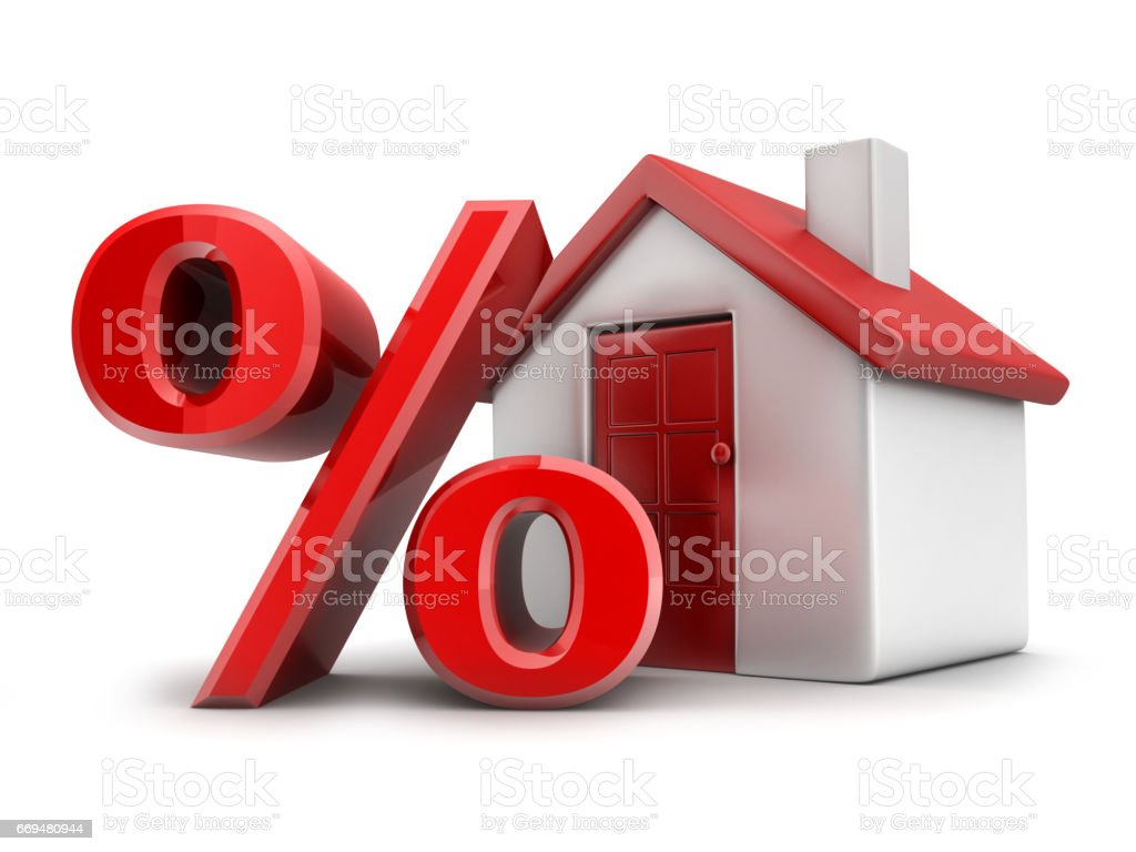 House red and sign percent stock photo