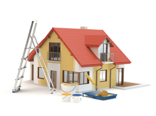 House renovation - paint and ladder 3D illustration, white background home improvement stock pictures, royalty-free photos & images