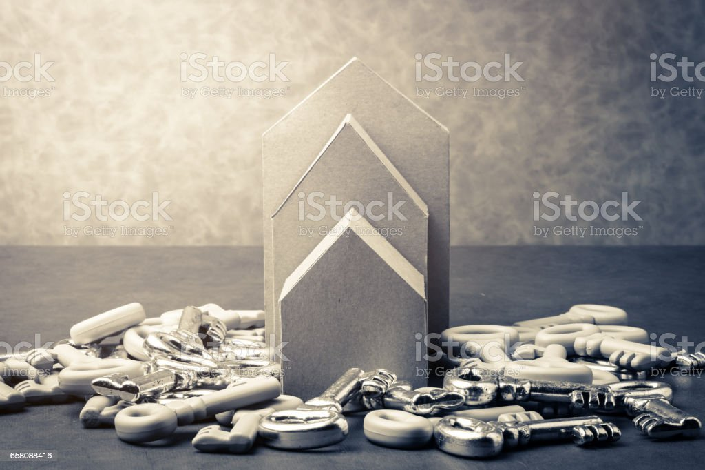 house rental and mortage  business concept with cardboard house royalty-free stock photo