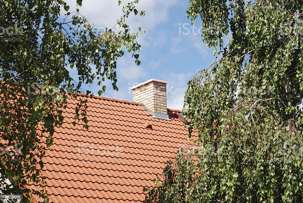 house roof and trees royalty-free stock photo