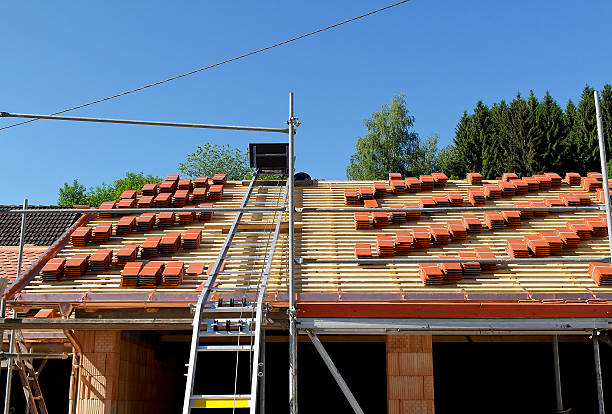 House roof construction stock photo