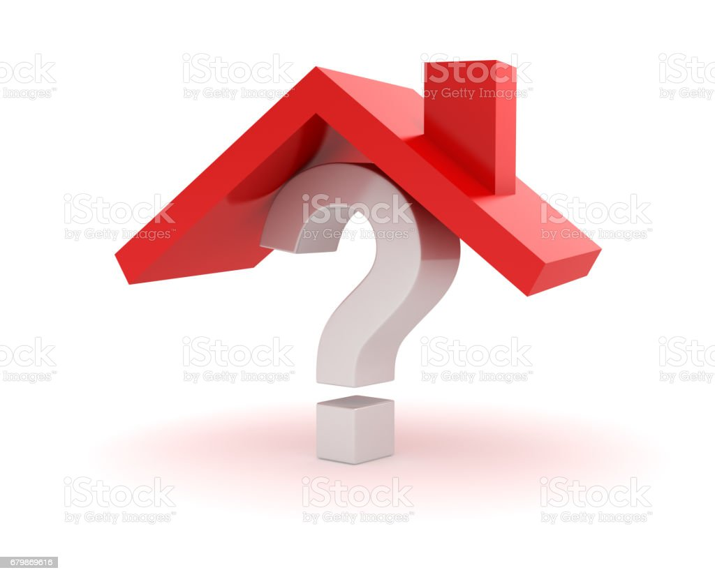 House Roof on Question Mark stock photo