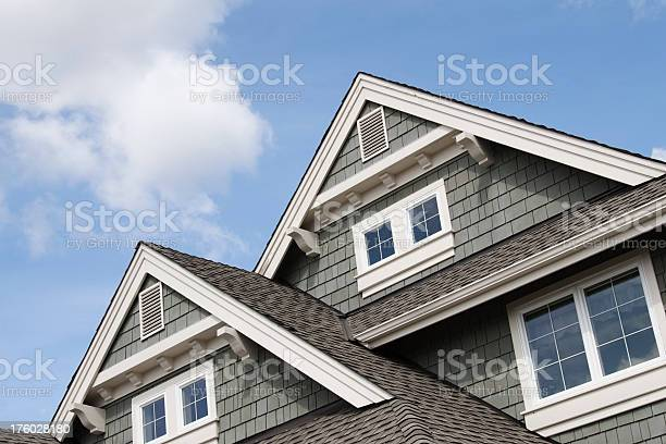 Detail of the roof line of a Northwest home. Good for real estate purposes.
