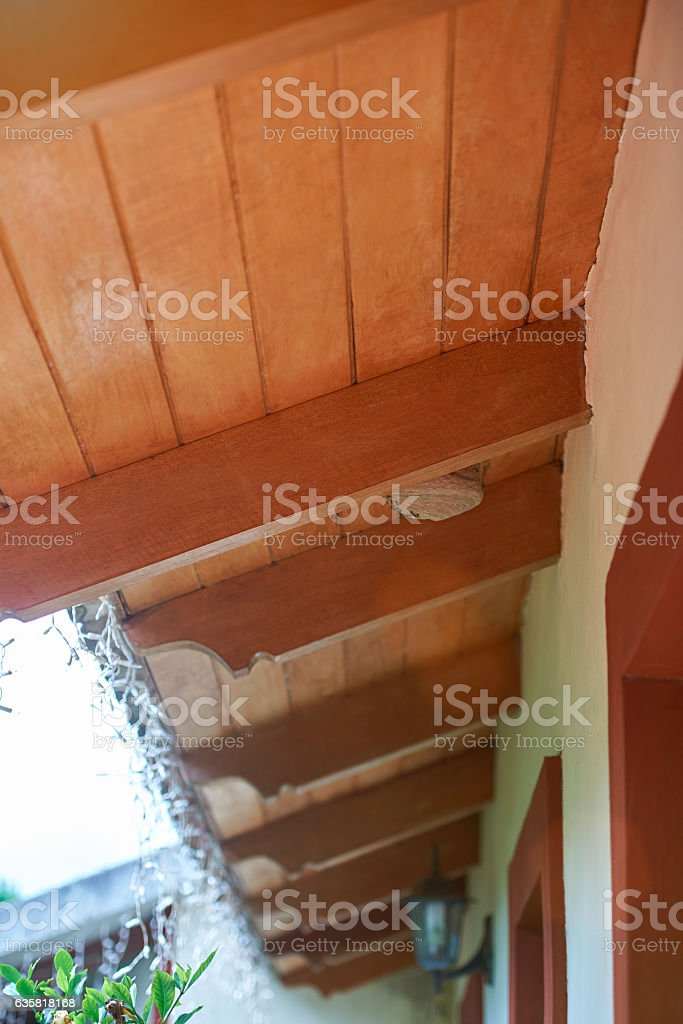 House roof with wasp nest stock photo