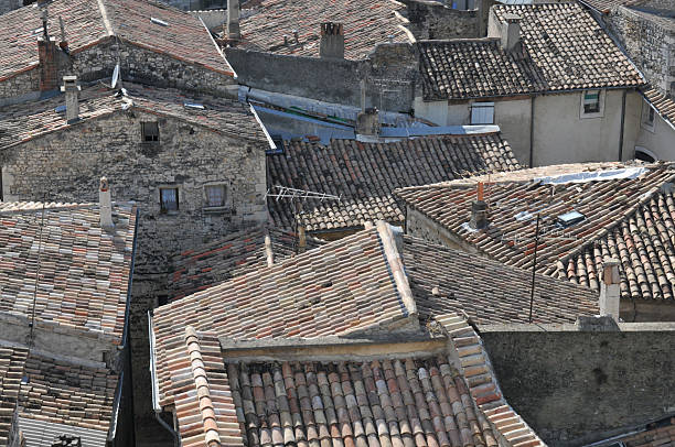 House roofs in Viviers, France stock photo