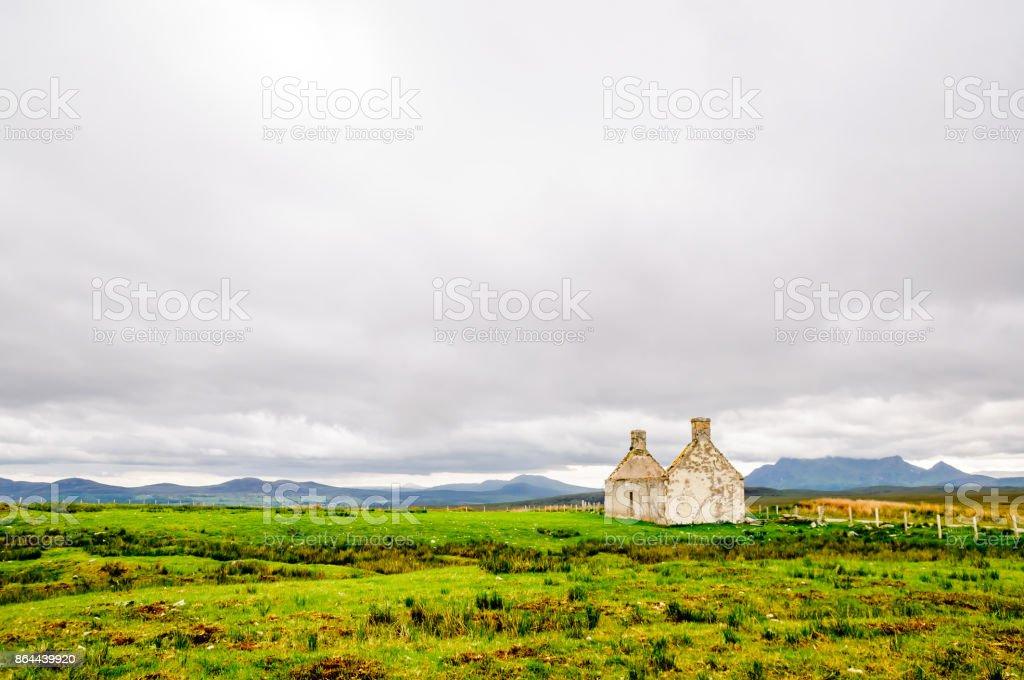 House Ruin in remote landscape of Scotland stock photo
