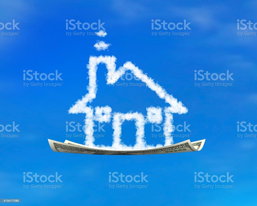 House shape white cloud on money flying carpet stock photo