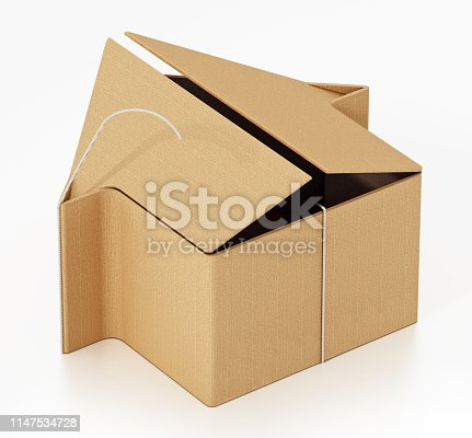 House shaped cardboard box isolated on white.
