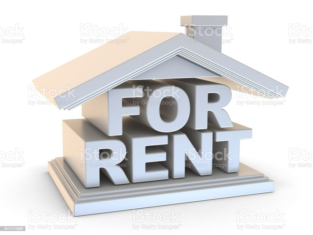 FOR RENT house sign side view 3D stock photo