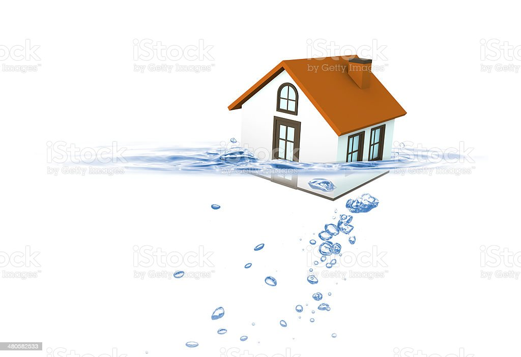 House sinking in water, Insurance concept stock photo