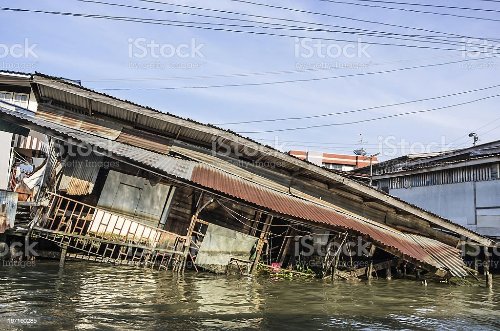 House sinking in Water royalty-free stock photo