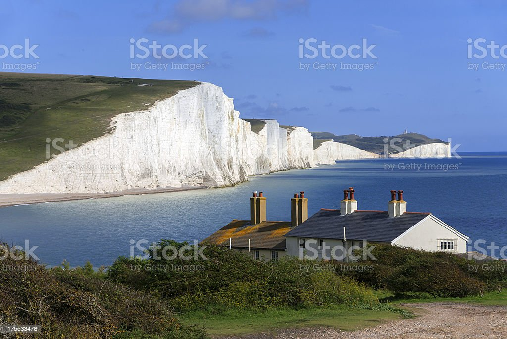 A house sits nestled along the coastline stock photo