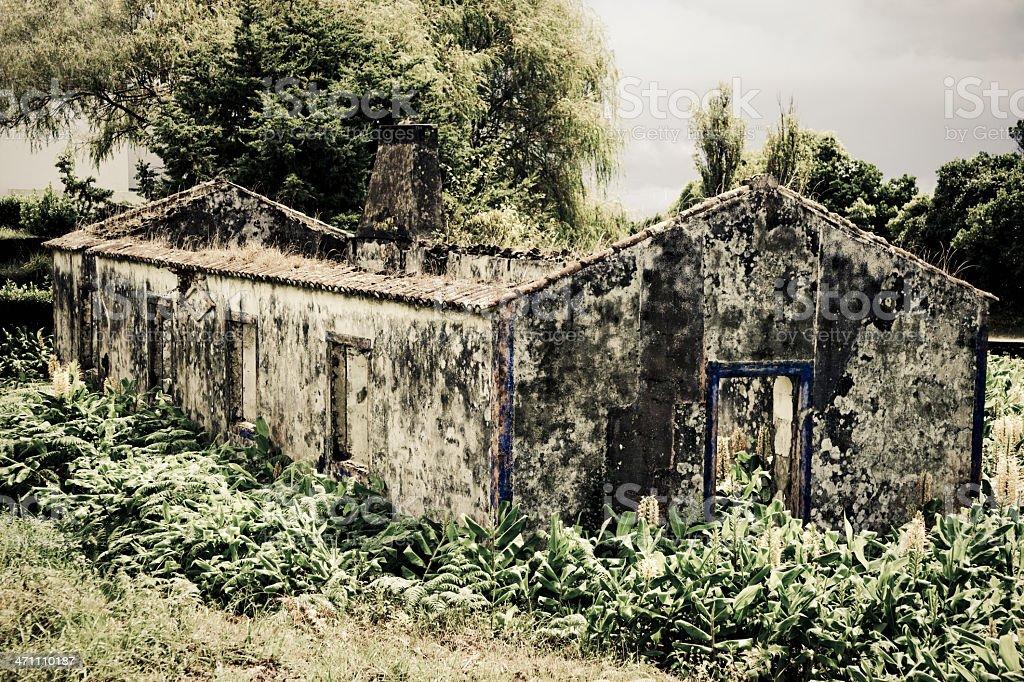House sunken in Lava from Ilha Nova eruption. royalty-free stock photo
