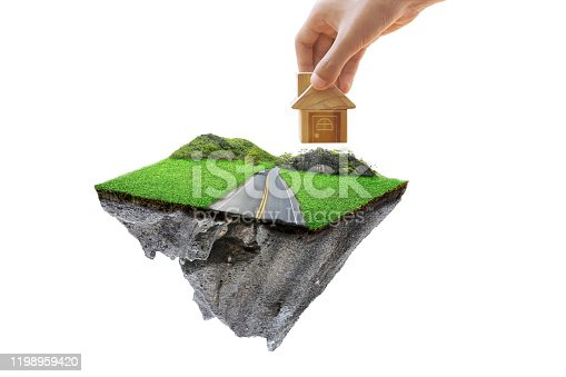 istock House symbol and Empty dry cracked swamp reclamation soil, land plot for housing construction project. 1198959420
