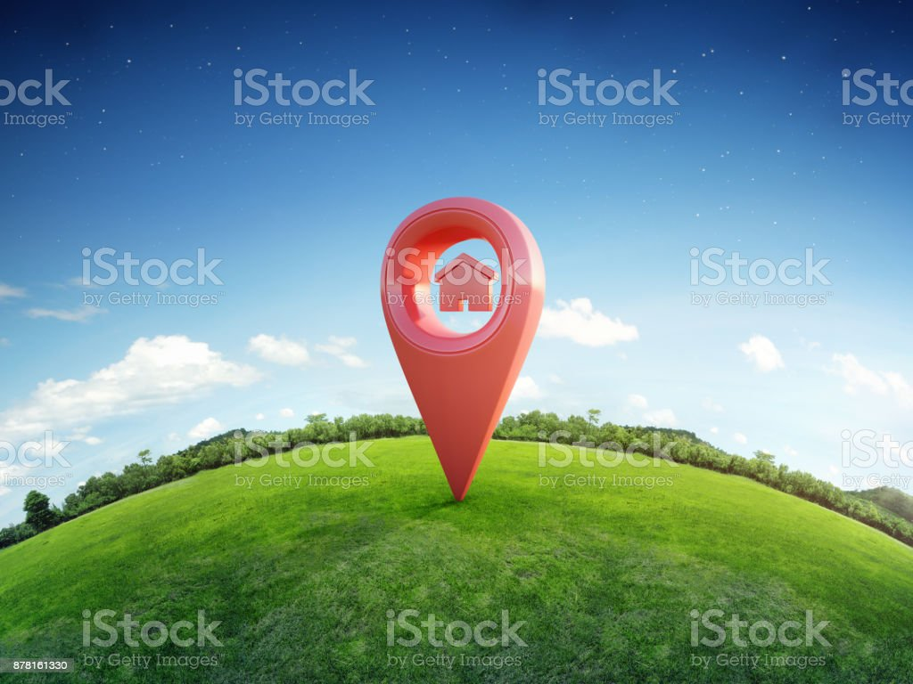 House symbol with location pin icon on earth and green grass in real estate sale or property investment concept, Buying new home for family