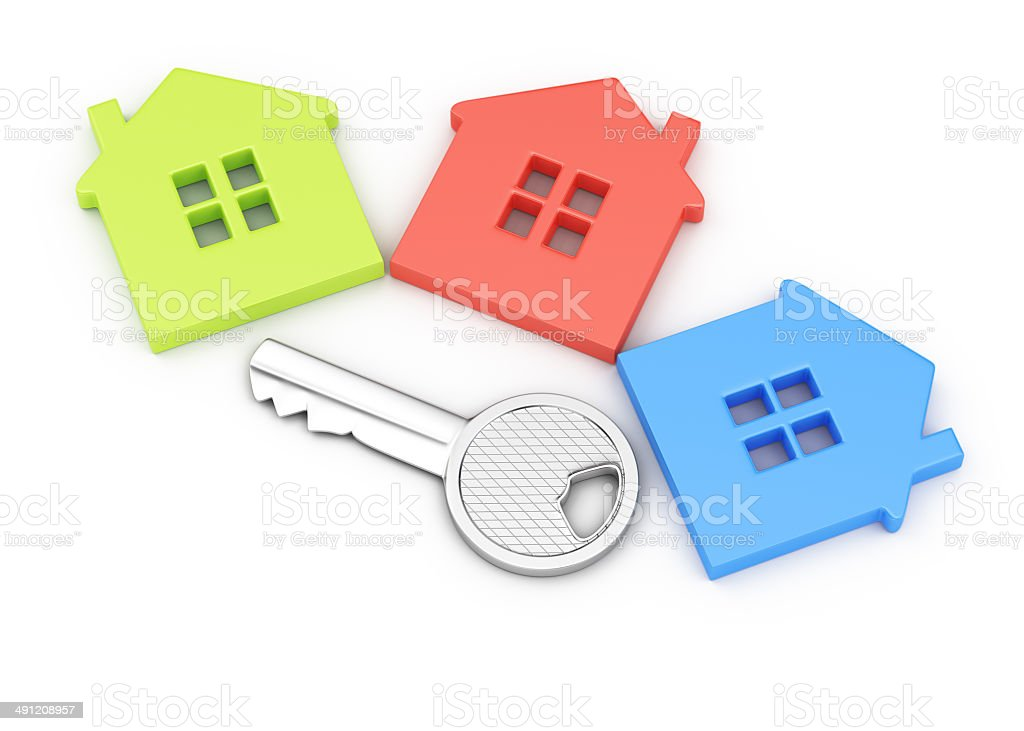House symbols and key royalty-free stock photo