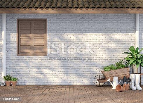 istock House terrace with garden equipment 3d render 1150514022