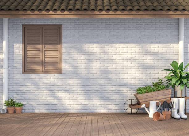 Hausterrasse mit Gartengeräte 3d render – Foto