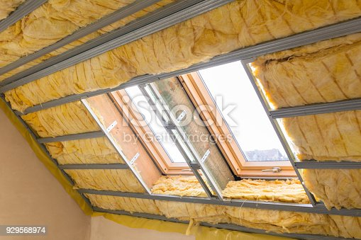 istock House thermal insulation with mineral wool 929568974