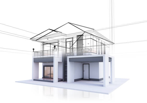 house three dimensional sketch drawing three dimensional sketch drawing real life stock pictures, royalty-free photos & images