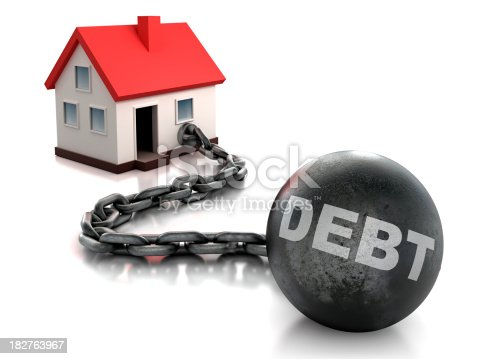 House tied to chain and ball of debt - isolated with clipping path included