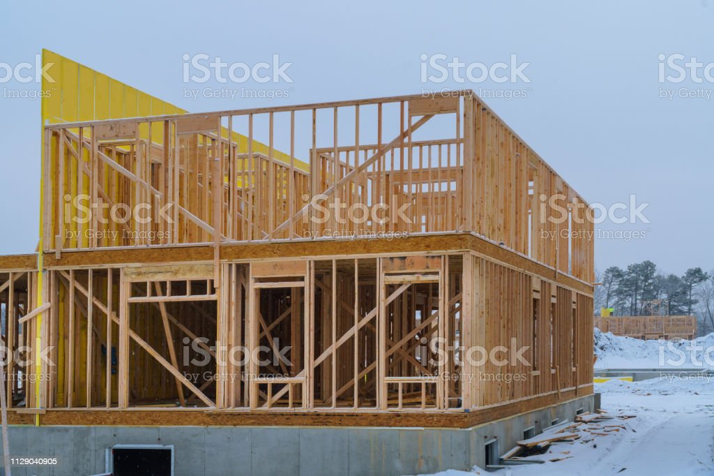 Building frame structure on a new development timber frame for a...