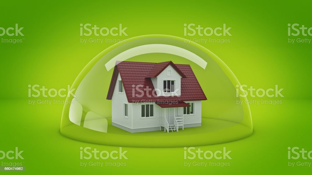 House under a Glass Shield, Protection Concept. stock photo