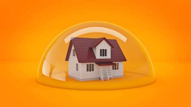 house under a glass shield, protection concept. - cupola stock pictures, royalty-free photos & images