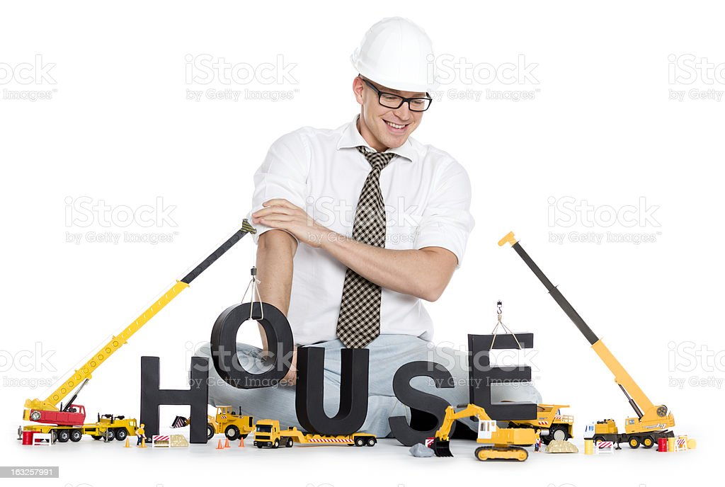 House under construction: Engineer building house-word. royalty-free stock photo
